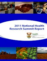2011 National Health Research Summit Report ppt