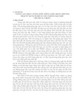 """""""NÂNG CAO CHẤT LƯỢNG MÔN TIẾNG ANH 6 BẰNG PHƯƠNG PHÁP SỬ DỤNG SƠ ĐỒ TƯ DUY TRONG DẠY HỌC CHỦ ĐỀ TỰ CHỌN"""""""