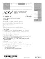 Vật lý A level: AQA PHYA5 1 w QP JUN11