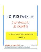 COURS DE MARKETING - Chapitre introductif : LES FONDEMENTS ppt