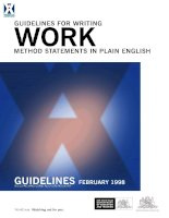 GUIDELINES FOR WRITING WORK METHOD STATEMENTS IN PLAIN ENGLISH pdf