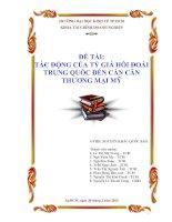 Tiểu luận:TÁC ĐỘNG CỦA TỶ GIÁ HỐI ĐOÁI TRUNG QUỐC ĐẾN CÁN CÂN THƯƠNG MẠI MỸ doc