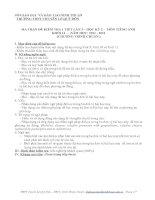 MA TRẬN ĐỀ KIỂM TRA 1 TIẾT LẦN 3 – HỌC KỲ 2 – MÔN TIẾNG ANH KHỐI 11 – NĂM HỌC: 2011 - 2012 (CHƯƠNG TRÌNH CHUẨN ) Mã đề 570 ppt