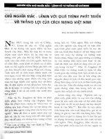 Báo cáo khoa học:Chủ nghĩa Mác Lênin với quá trình phát triển và thắng lợi của cách mạng Việt Nam doc