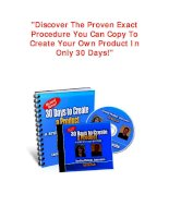 Discover The Proven Exact Procedure You Can Copy To Create Your Own Product In Only 30 Days!