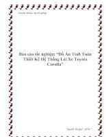 """Báo cáo tốt nghiệp: """"Đồ Án Tính Toán Thiết Kế Hệ Thống Lái Xe Toyota Corolla"""" pdf"""