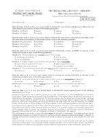Đề thi thử ĐH, CĐ lần 1 - năm 2014 môn Tiếng Anh khối D THPT Hà Bà Trưng Thừa Thiên Huế