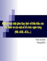 Slide bài giảng một số khác biệt về Quy định đấu thầu của Việt Nam và các tổ chức ngân hàng ADB, WB, JICA...