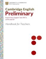 CAMBRIDGE ENGLISH PRELIMINARY - PRELIMINARY ENGLISH TEST (PET) CEFR LEVEL B1 HANDBOOK FOR TEACHERS doc