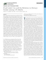 Food Label Use and Its Relation to Dietary Intake among US Adults