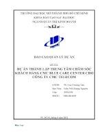 DỰ ÁN THÀNH LẬP TRUNG TÂM CHĂM SÓC KHÁCH HÀNG CMC BLUE CARE CENTER CHO CÔNG TY CMC TELECOM