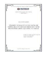 Tìm hiểu về HACCP và xây dựng hệ thống HACCP cho sản phẩm xúc xích francfort (heo) tại công ty vissan
