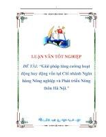 luận văn:Giải pháp tăng cường hoạt động huy động vốn tại Chi nhánh Ngân hàng Nông nghiệp và Phát triển Nông thôn Hà Nội potx