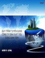QUY TRÌNH TUYỂN DỤNG CÔNG TY SẢN XUẤT TIÊU DÙNG BÌNH TIÊN