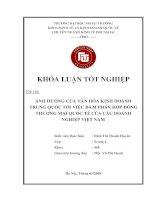 Ảnh hưởng của văn hóa kinh doanh Trung Quốc đến việc đàm phán hợp đồng thương mại quốc tế của các doanh nghiệp Việt Nam