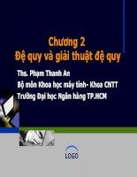 Bài giảng Cấu trúc dữ liệu và giải thuật: Chương 2 - ThS. Phạm Thanh An