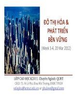 ĐÔ THỊ HÓA & PHÁT TRIỂN BỀN VỮNG (Week 3-4, 20 Mar 2012) doc