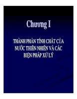 Chương 1: Thành phần tính chất của nước thiên nhiên và các biện pháp xử lý