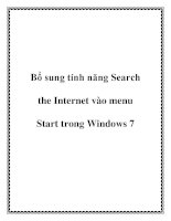 Bổ sung tính năng Search the Internet vào menu Start trong Windows 7 ppt