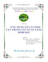 Đề tài: ỨNG DỤNG CỦA VI SINH VẬT TRONG SẢN XUẤT XĂNG SINH HỌC docx