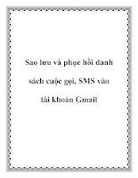 Sao lưu và phục hồi danh sách cuộc gọi, SMS vào tài khoản Gmail pot