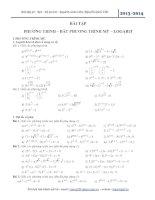 Bài tập phương trình bất phương trình mũ và logarit