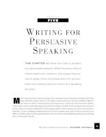 WRITING FOR PERSUASIVE SPEAKING