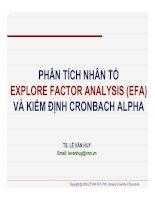 bài giảng phân tích nhân tố explore factor analysis (efa) và kiểm định cronbach alpha - ts. lê văn huy