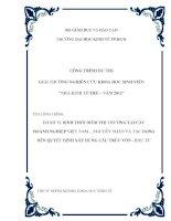 HÀNH VI ĐỊNH THỜI ĐIỂM THỊ TRƯỜNG TẠI CÁC DOANH NGHIỆP VIỆT NAM _ NGUYÊN NHÂN VÀ TÁC ĐỘNG ĐẾN QUYẾT ĐỊNH XÂY DỰNG CẤU TRÚC VỐN - ĐẦU TƯ