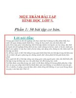 MỘT TRĂM BÀI TẬP HÌNH HỌC LỚP 9 LUYỆN THI VÀO LỚP 10