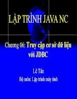 Giáo án - Bài giảng: LẬP TRÌNH JAVA NÂNG CAO - TRUY CẬP CƠ SỞ DỮ LIỆU VỚI JDBC