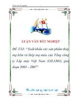 luận văn:Xuất khấu các sản phẩm thép mạ kẽm và thép mạ màu của Tổng công ty Lắp máy Việt Nam (LILAMA) giai đoạn 2003 – 2007 pdf