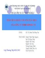tiểu luận phân tích chuỗi cung ứng xúc xích của công ty tnhh shinshu nt