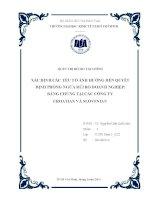 Tiểu luận: Xác định các yếu tố ảnh hưởng đến quyết định phòng ngừa rủi ro doanh nghiệp: bằng chứng tại các công ty Croatian và Slovenian