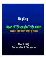 Quản lý TNTN - TNTN và phát triển bền vững