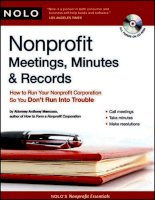 nonprofit meetings minutes and records, how to run your nonprofit corporation so you don't run into trouble (2008)