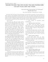 Nghiên cứu độc tính cấp và độc tính bán trường diễn của bài thuốc Sinh Tinh Thang potx