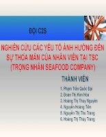Nghiên cứu các yếu tố ảnh hưởng đến sự thỏa mãn của nhân viên tại TSC (trọng nhân seafood company