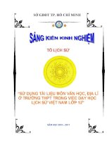 skkn sử dụng tài liệu môn văn học, địa lí ở trường thpt trong việc dạy học lịch sử việt nam lớp 12