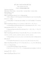 Câu hỏi đề thi môn hình học giải tích (tự luận)