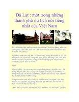Đà Lạt : một trong những thành phố du lịch nổi tiếng nhất của Việt Nam pptx