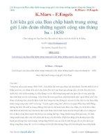 Lời kêu gọi của ban chấp hành trung ương gửi liên đoàn những người cộng sản tháng ba   1850   k marx   f engels