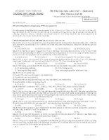 Đề thi thử ĐH, CĐ lần 1 - năm 2014 môn Hóa học khối B THPT Hà Bà Trưng Thừa Thiên Huế