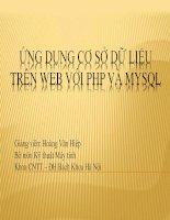 ỨNG DỤNG CƠ SỞ DỮ LIỆU TRÊN WEB VỚI PHP VÀ MYSQL