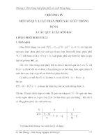 Giáo trình lý thuyết xác suất và thống kê toán chương 4: Một số quy luật phân phối xác suất thông dụng
