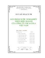 luận văn:BẢN KẾ HOẠCH PR SẢN PHẨM NƯỚC TINH KHIẾT NHÃN HIỆU DASANI CỦA CÔNG TY COCA-COLA VIỆT NAM pptx