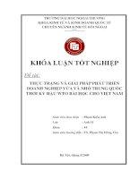Thực trạng và giải pháp phát triển doanh nghiệp vừa và nhỏ Trung Quốc thời kỳ hậu WTO. Bài học cho Việt Nam