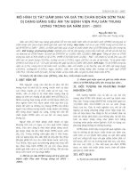 MÔ HÌNH DỊ TẬT BẨM SINH VÀ GIÁ TRỊ CHẨN ĐOÁN SỚM THAI DỊ DẠNG BẰNG SIÊU ÂM TẠI BỆNH VIỆN PHỤ SẢN TRUNG ƯƠNG TRONG BA NĂM 2001 - 2003 potx