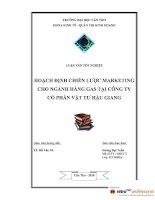 hoạch định chiến lược marketing cho ngành hàng gas tại công ty cổ phần vật tư hậu giang