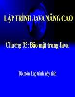 Bài giảng - giáo án: Bài giảng Java Chương  5 bảo mật trong java